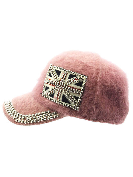 British Flag Soft Furry Hat Metallic Stud Bling Great Britain Union Jack Pink