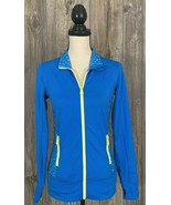 IDEALOGY 1/4 Zip Pullover Women's XS Turquoise Blue/Yellow Thumb Holes P... - $16.81