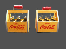 Coca-Cola Set of 2 Yellow 6 Pack Crate Vintage Look Holiday Christmas Or... - $23.76