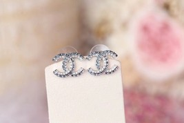 AUTH NEW CHANEL 2019 Classic CC Bi-Color Blue Crystal Silver EARRINGS image 7