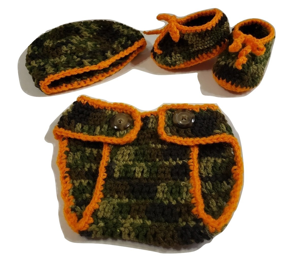 Handmade crochet 3pc camouflage Diaper cover set (0-3 months)