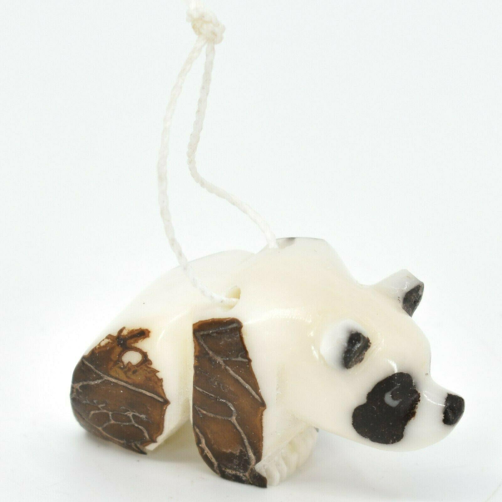 Hand Carved Tagua Nut Carving Small Panda Bear Ornament Handmade in Ecuador