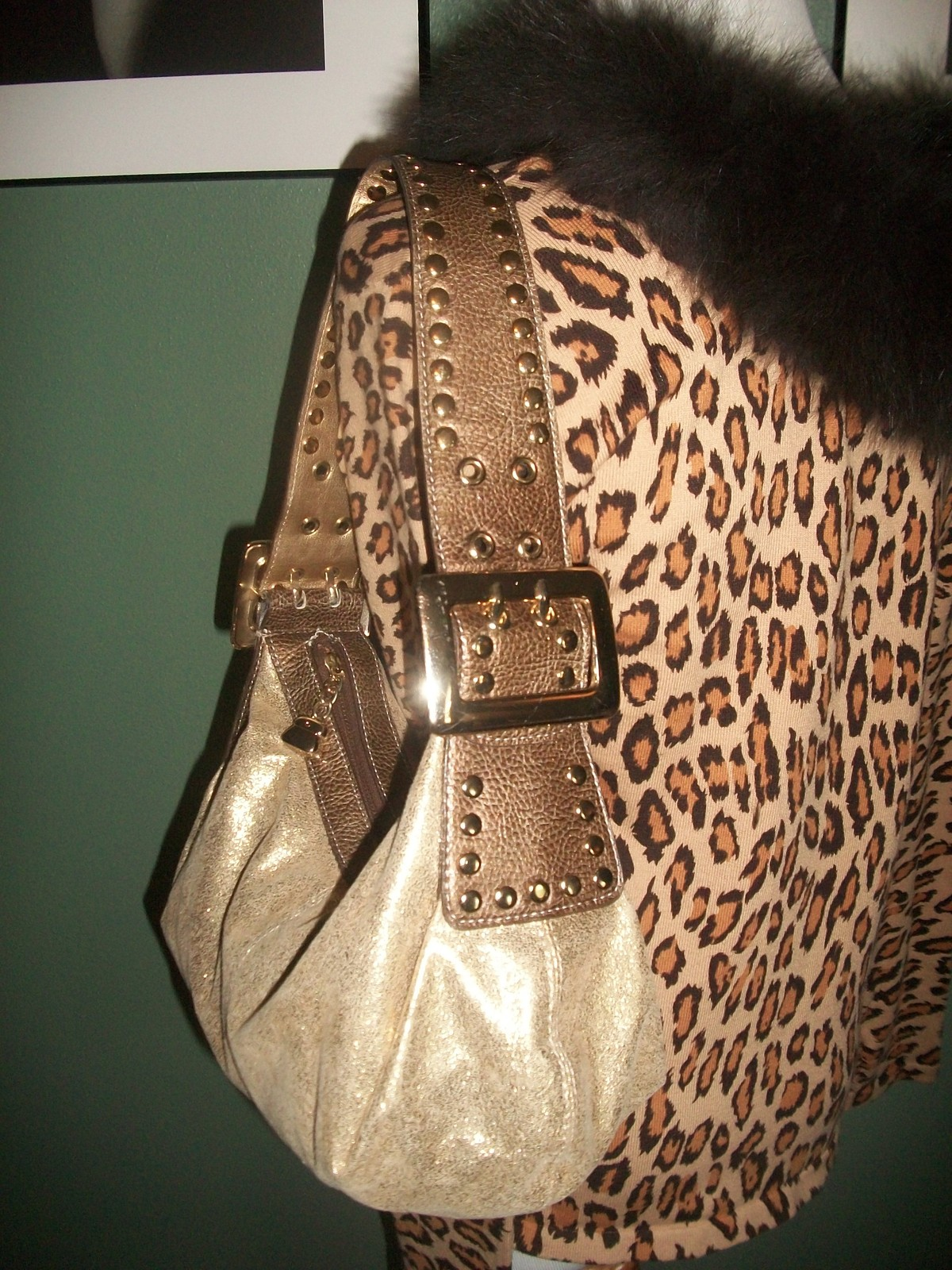 Primary image for KATHY VAN ZEELAND Metallic Slouch Hobo Shoulder Bag W/ Charm
