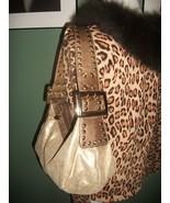 KATHY VAN ZEELAND Metallic Slouch Hobo Shoulder Bag W/ Charm  - $25.99
