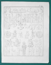 EGYPT Gods Deities Isis Osiris Apis Serapis Horos - 1828 Antique Print - $16.20