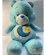 "Care Bears Bedtime Bear Jumbo 28"" Blue Fuzzy Pillow Plush Moon Yellow St... - $59.00"