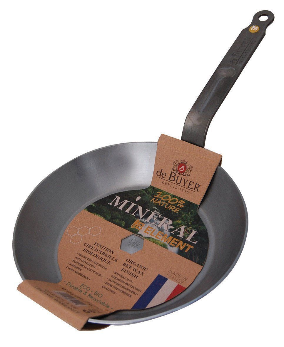 """DeBuyer Mineral B Element Iron Frypan, Round 10.2"""" France"""