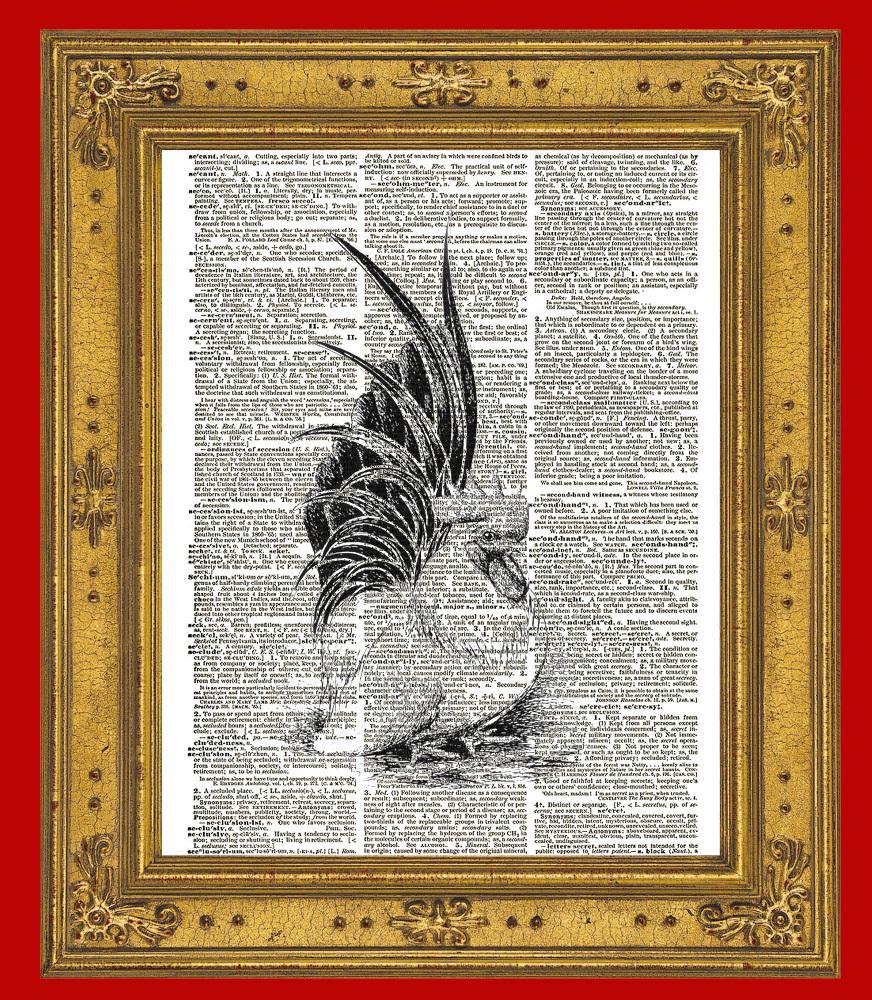 ROOSTER Bird Farm Animal Vintage Dictionary Art Print No. 0069