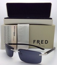 New FRED LUNETTES Sunglasses ELLESMERE SUN 102 F2 Silver w/ Ebony Black Wood