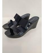 Lauren Ralph Lauren Womens Wedge Sandal Size 6.5 Blue Slip On Open Toe S... - $27.99