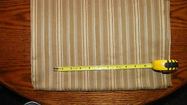 Gold Taupe Stripe Print Upholstery Fabric Remnant  F410 - $39.95