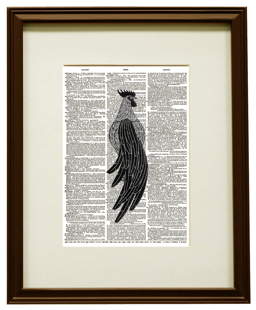 Stylized ROOSTER Bird Farm Animal Vintage Dictionary Art Print No. 0070