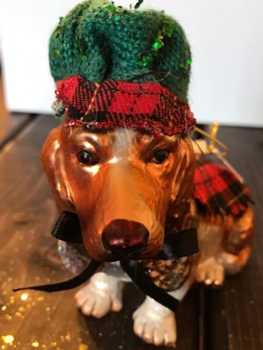 Primary image for New Glass Blown Christmas Tree Ornament Dog Scottish Plaid Wool Funky Decor