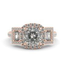 3.58 ct Cushion One Moissanite & Round Diamond Halo 3 Stone 18k Engagement Ring - $3,932.00