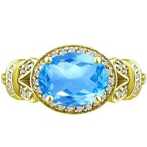 Vintage Oval Blue Topaz Round Diamond Unique Ring Yellow Gold pl Silver ... - £186.53 GBP
