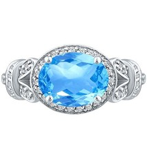 Vintage Oval Blue Topaz & Round Diamond Halo Unique Ring Sterling Silver... - £186.53 GBP
