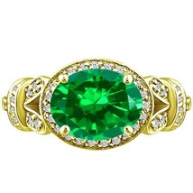 Vintage Oval cr Emerald Round Diamond Unique Ring Yellow Gold pl Silver ... - £186.53 GBP