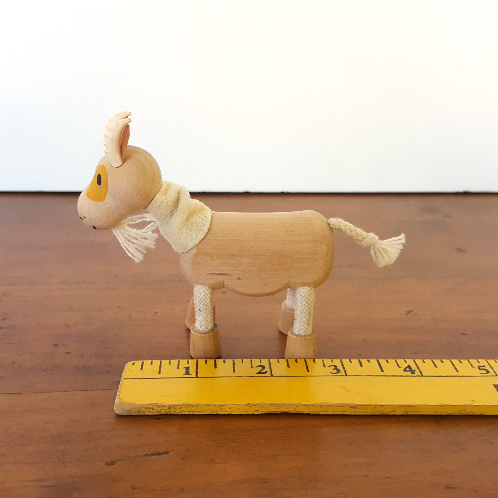 Anamalz Goat Wood Figure Natural Toy Farm Horns Bendable Legs Posable Ecological