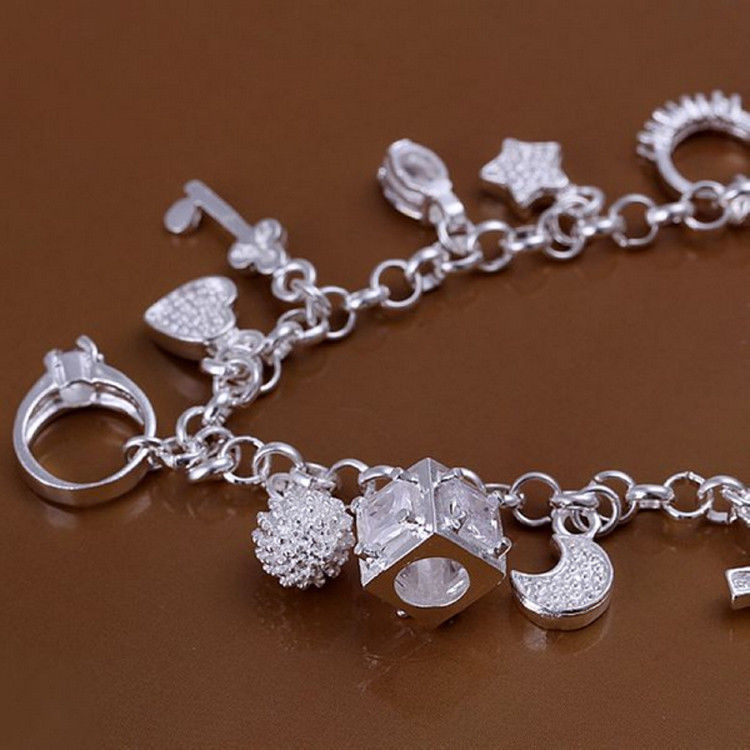 Primary image for Charms Bracelet Plated Silver Lovely Chain Bracelet Jewelry