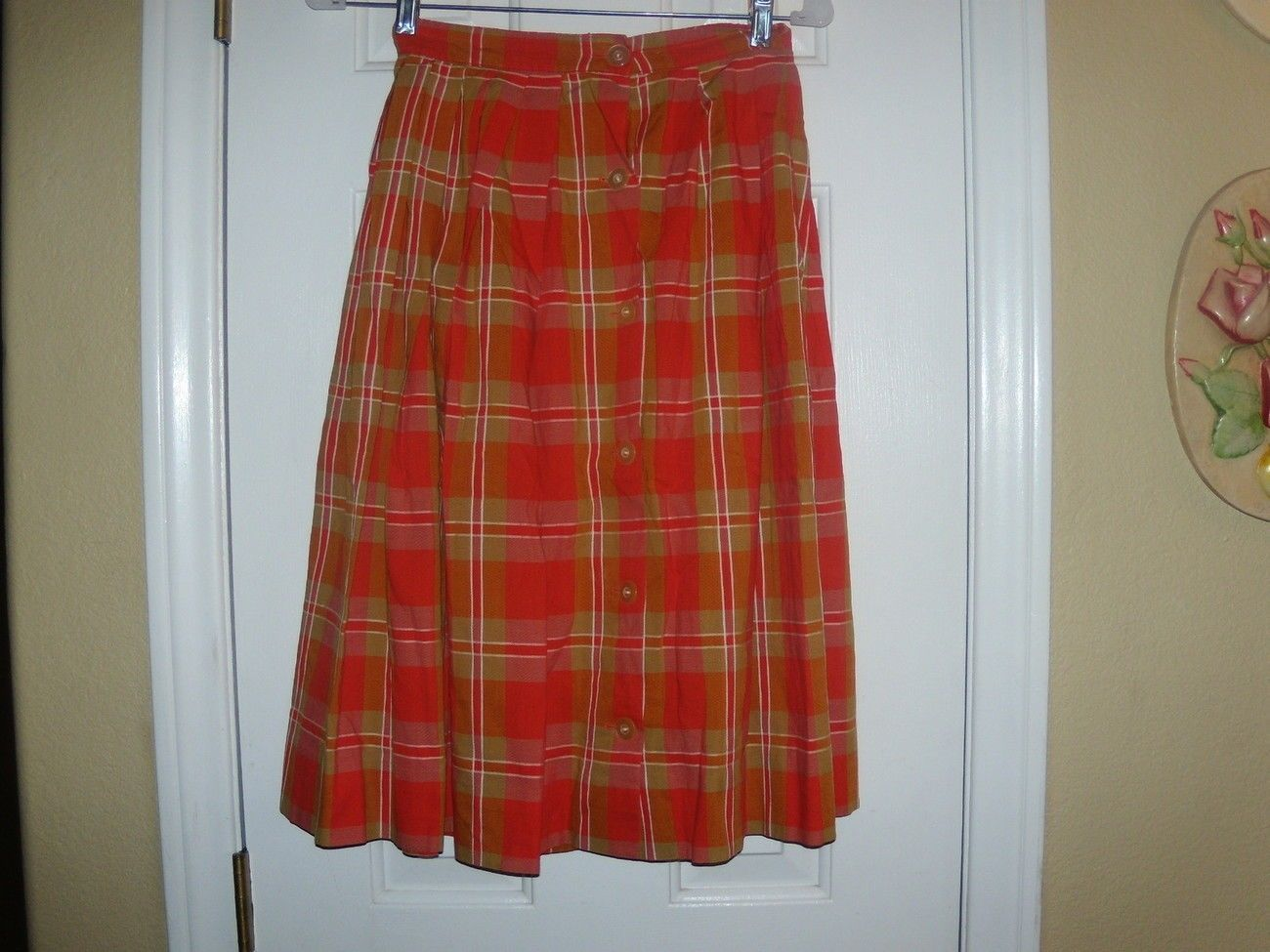 Primary image for Vintage Ladies Size 4 Orange Plaid Below Knee Button Down Skirt Pleated