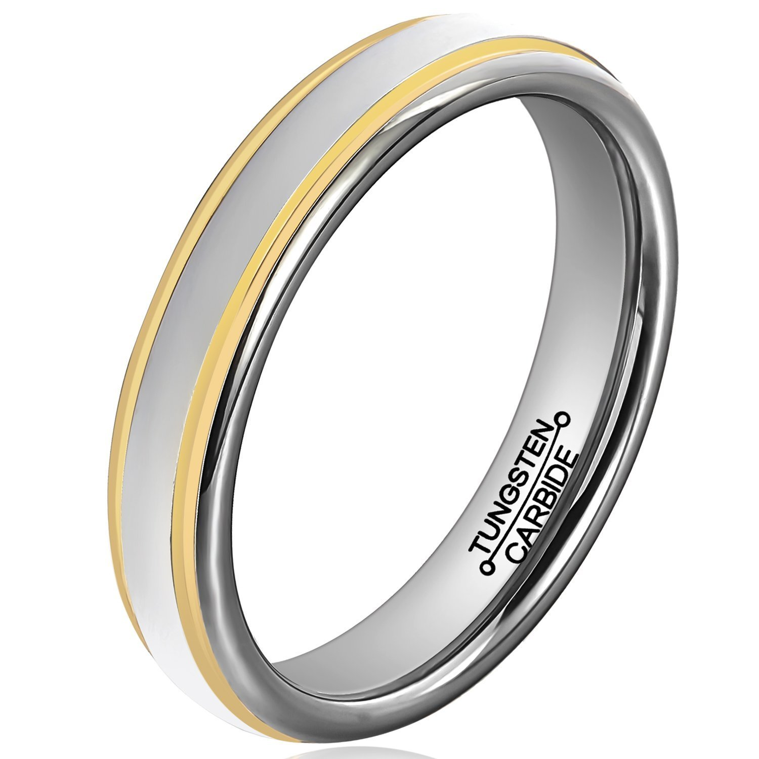 Primary image for 4mm Tungsten Ring Wedding Band Comfort Fit 18K Gold Grooves; 4-16 & Half
