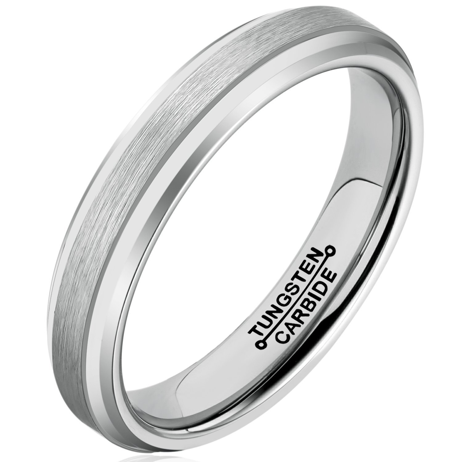 Primary image for 4mm Tungsten Ring Wedding Band Comfort Fit Matte Finish; 4-16 & Half