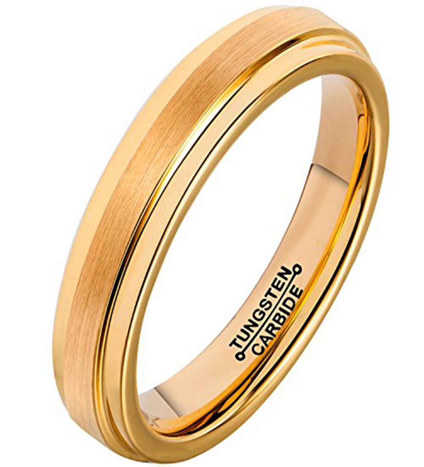 Primary image for 4mm 18K Gold Plated Tungsten Ring Wedding Band Comfort Fit; 4-16 & Half