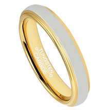 4mm 18K Gold Plated Tungsten Ring Wedding Band Comfort Fit Domed; 4-16 &... - $32.95