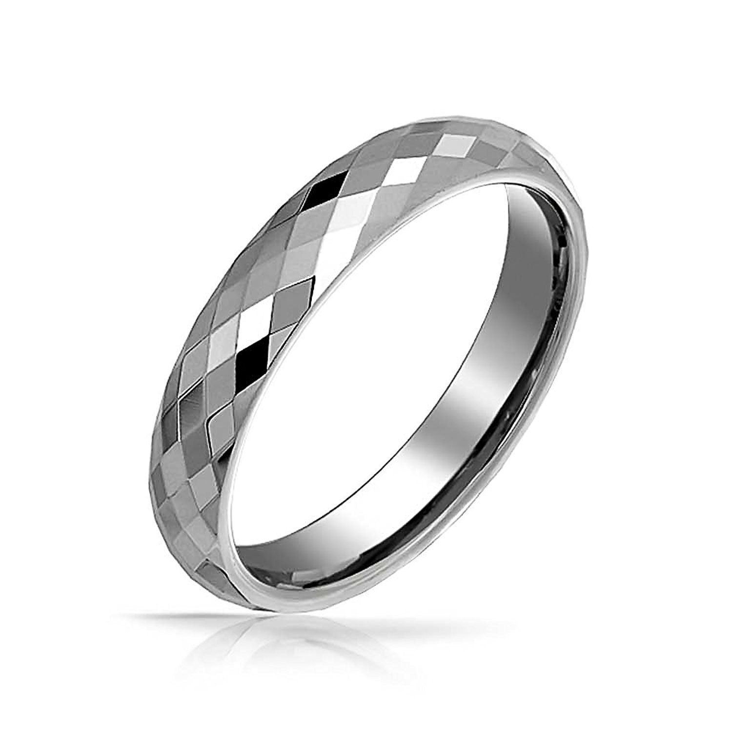 Primary image for 4mm Tungsten Ring Multi Faceted Wedding Band; 5-15 & Half