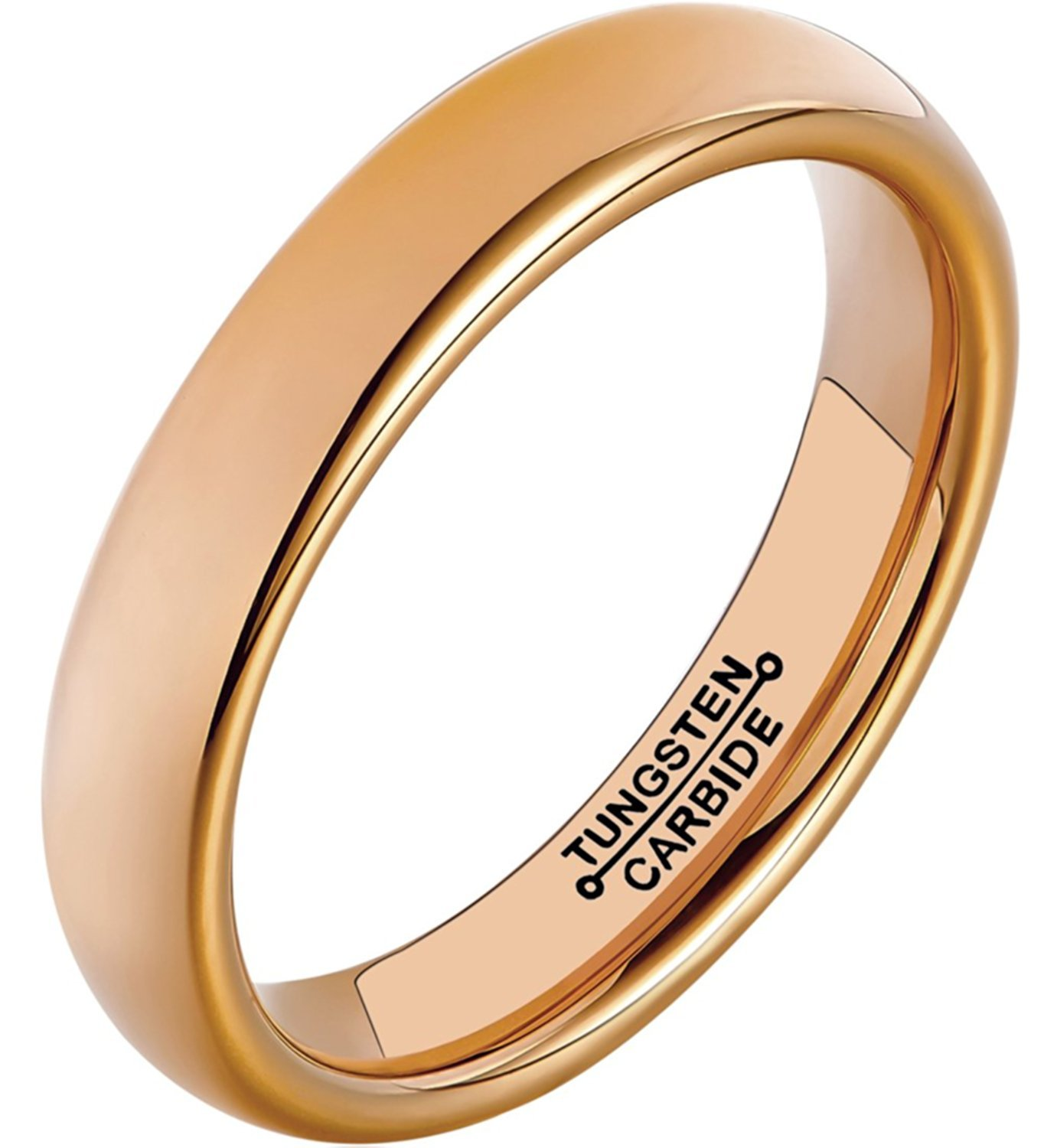 Primary image for 4mm Tungsten Wedding Ring Band Rose Gold Plated Polished Dome Comfort Fit