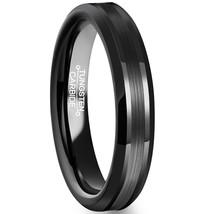 4mm Tungsten Black Ring Wedding Promise Band Matte Brushed Center; 5-15 ... - $24.95