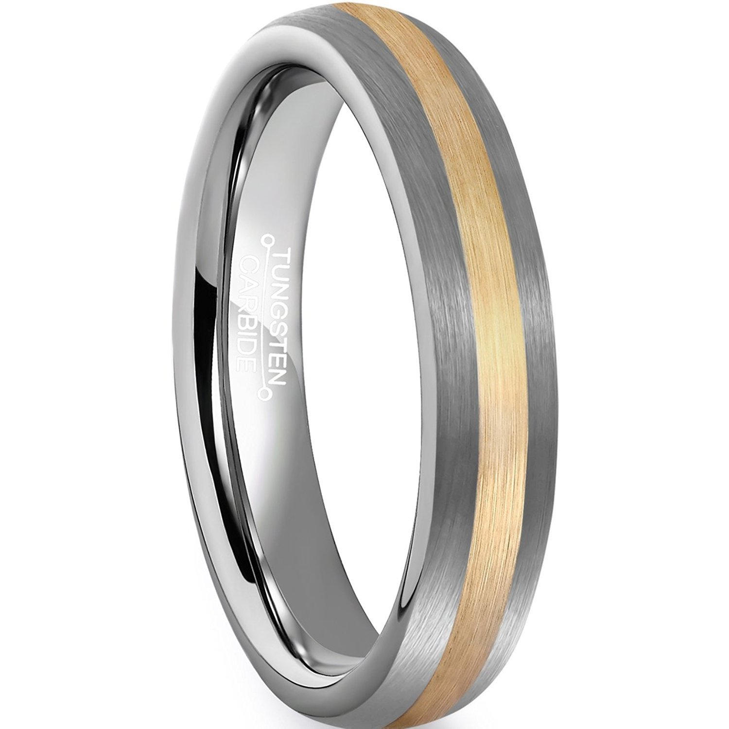 Primary image for 4mm Tungsten Ring Wedding Band 18K Glod Plated Center Sizes 5-15 & Half