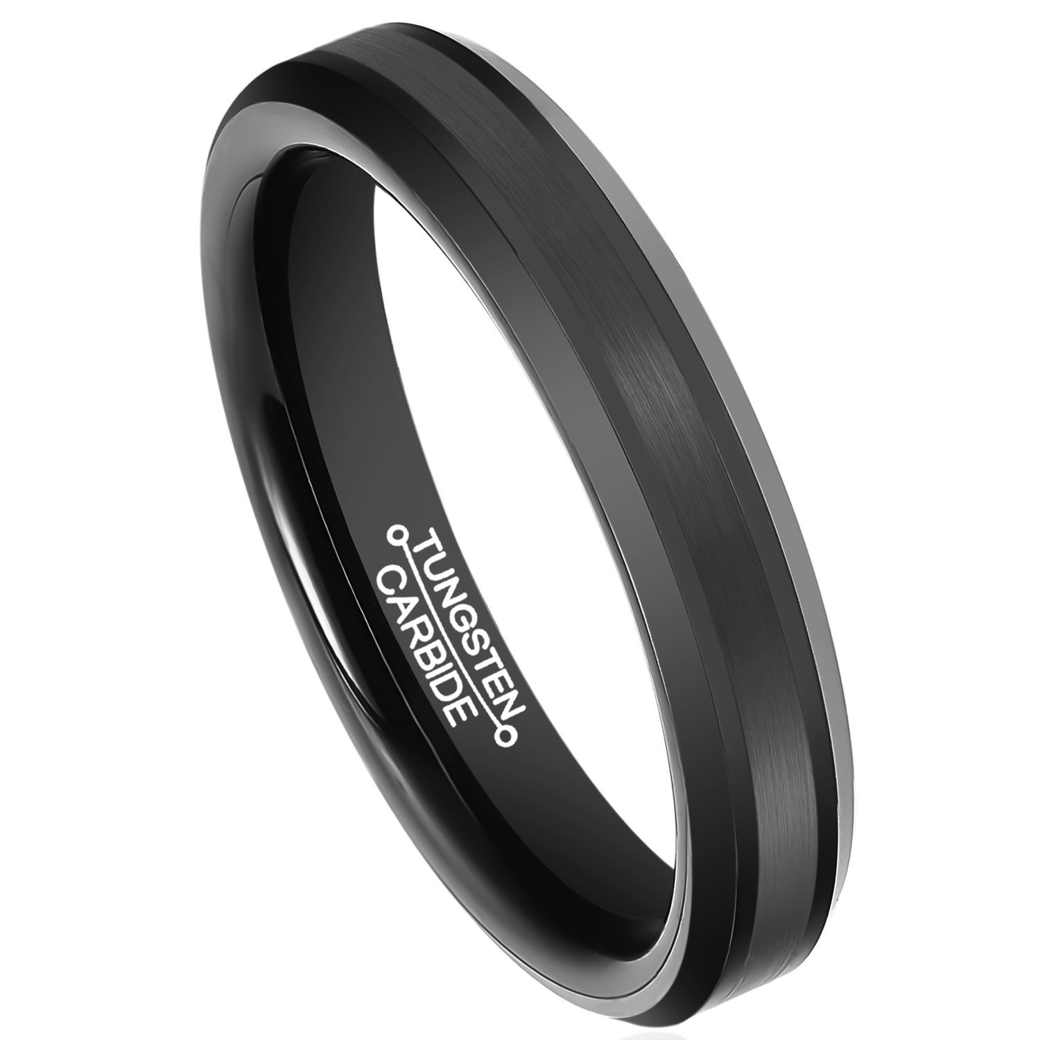 Primary image for 4MM Tungsten Ring Matte Finish Comfort Fit Wedding Band Sizes 5-15 & Half