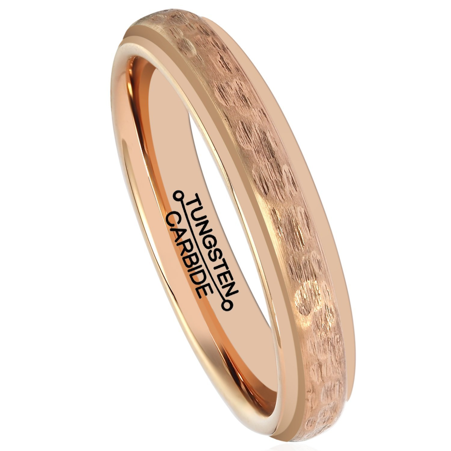 Primary image for 4MM Tungsten Carbide Ring Rose Gold Hammered Grain Wedding Band Size 5-15 & Half