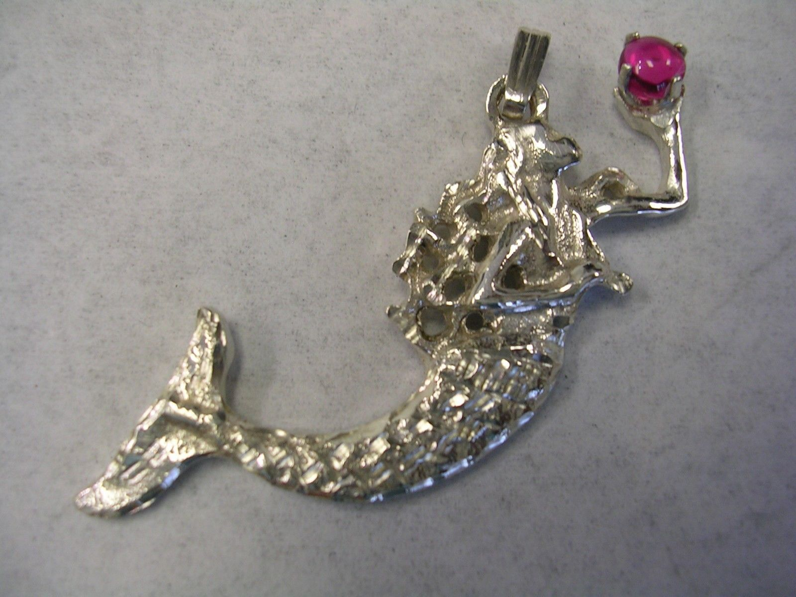 Primary image for MERMAID PENDANT WITH RUBY CABOCHON SET IN STERLING SILVER
