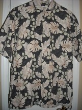 Mens L Campia Reverse Fabric Print Hawaiian Shirt with Palm Leaves  Cotton - $15.83