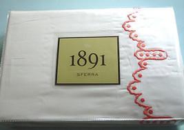 Sferra 1891 FROU FROU King Sheet Set White/Coral Embroidery Cotton Satee... - $429.90
