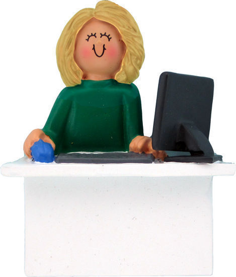Primary image for COMPUTER TEACHER OFFICE WORKER FEMALE BLONDE ADMINISTRATIVE ASSISTANT ORNAMENT