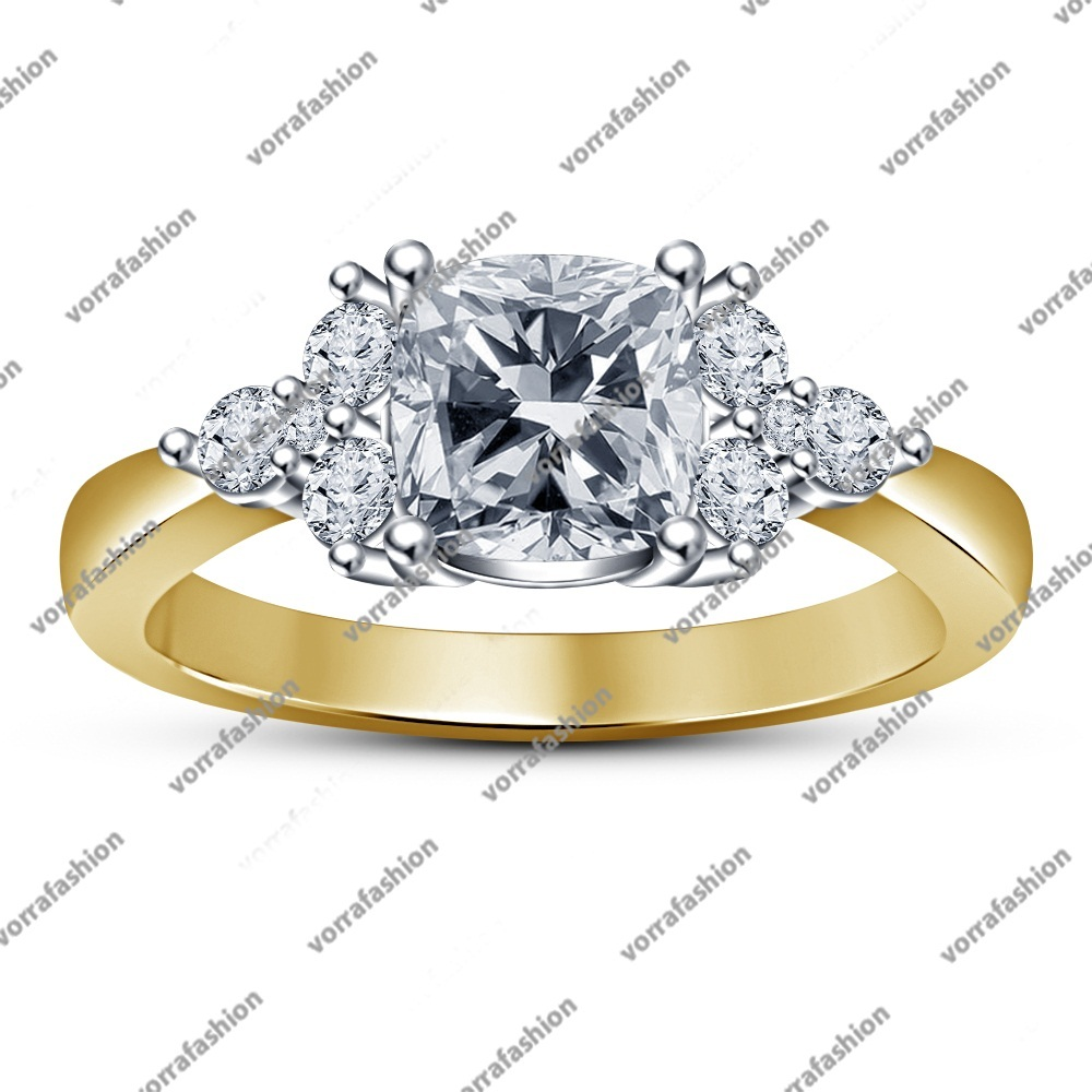 Primary image for 14k Yellow Gold Plated 925 Silver Women's Engagement Ring White CZ Cushion Cut