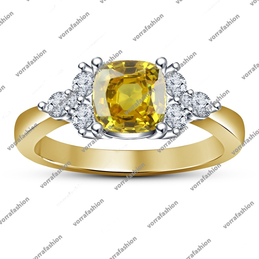 Primary image for Cushion Cut Yellow Sapphire Engagement Ring Solitaire With Accents Yellow GP