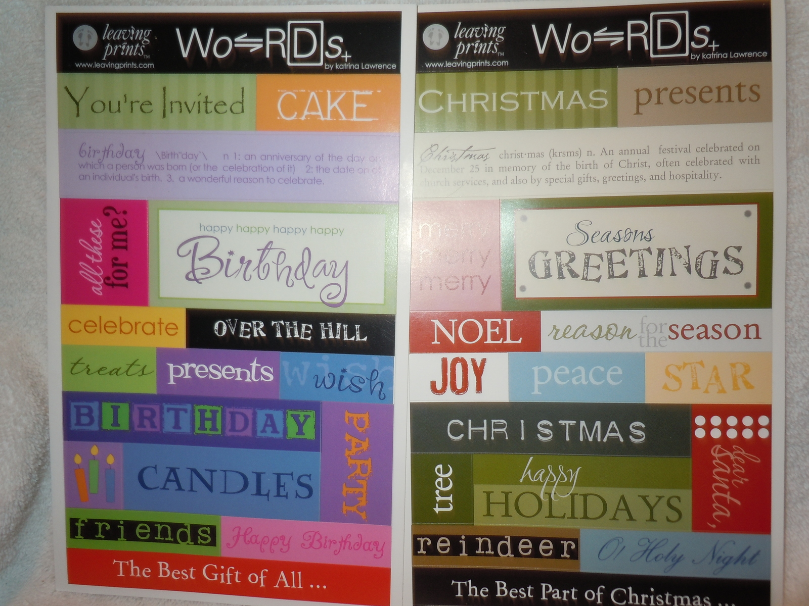 Primary image for Leaving Prints Words Christmas and Birthday 2 Sheets  Acid Free New