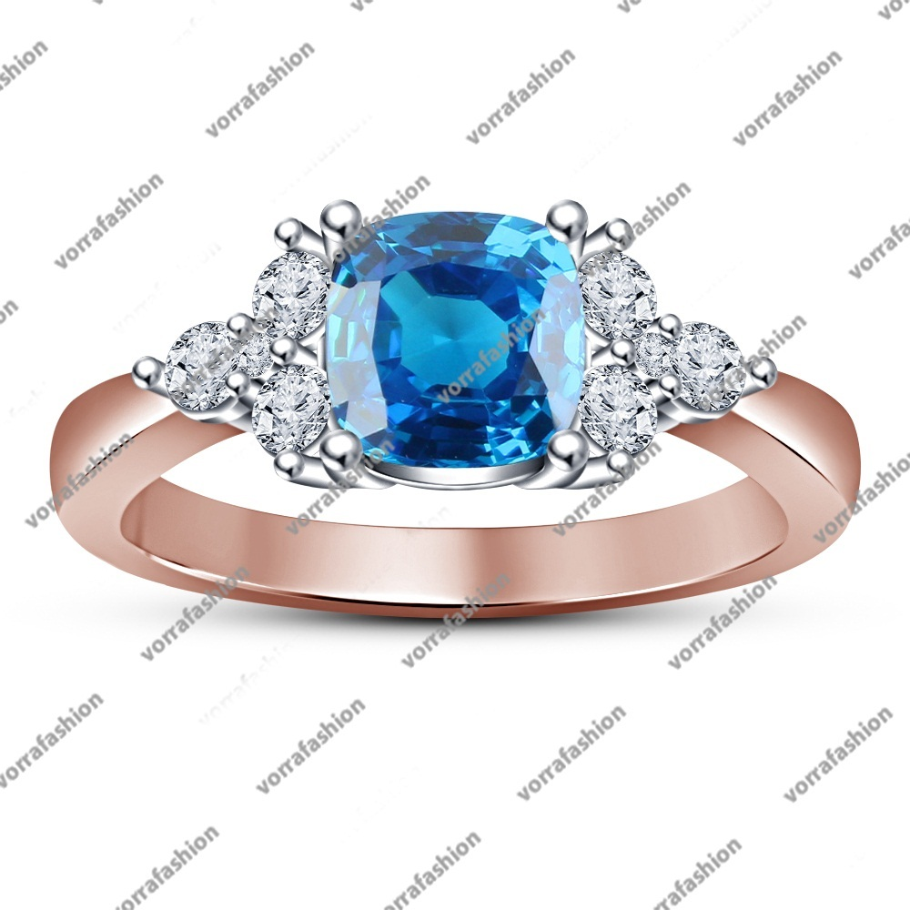Primary image for Rose Gold Plated 925 Silver Women's Engagement Ring Cushion Cut Blue Aquamarine