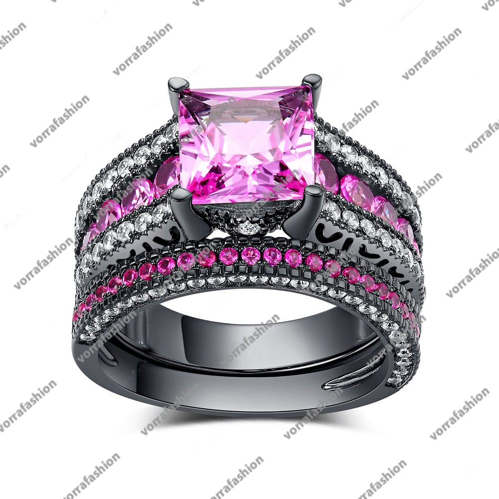 Primary image for Engagement Bridal Ring Set In Princess Cut Pink Sapphire Black Gp 925 Silver