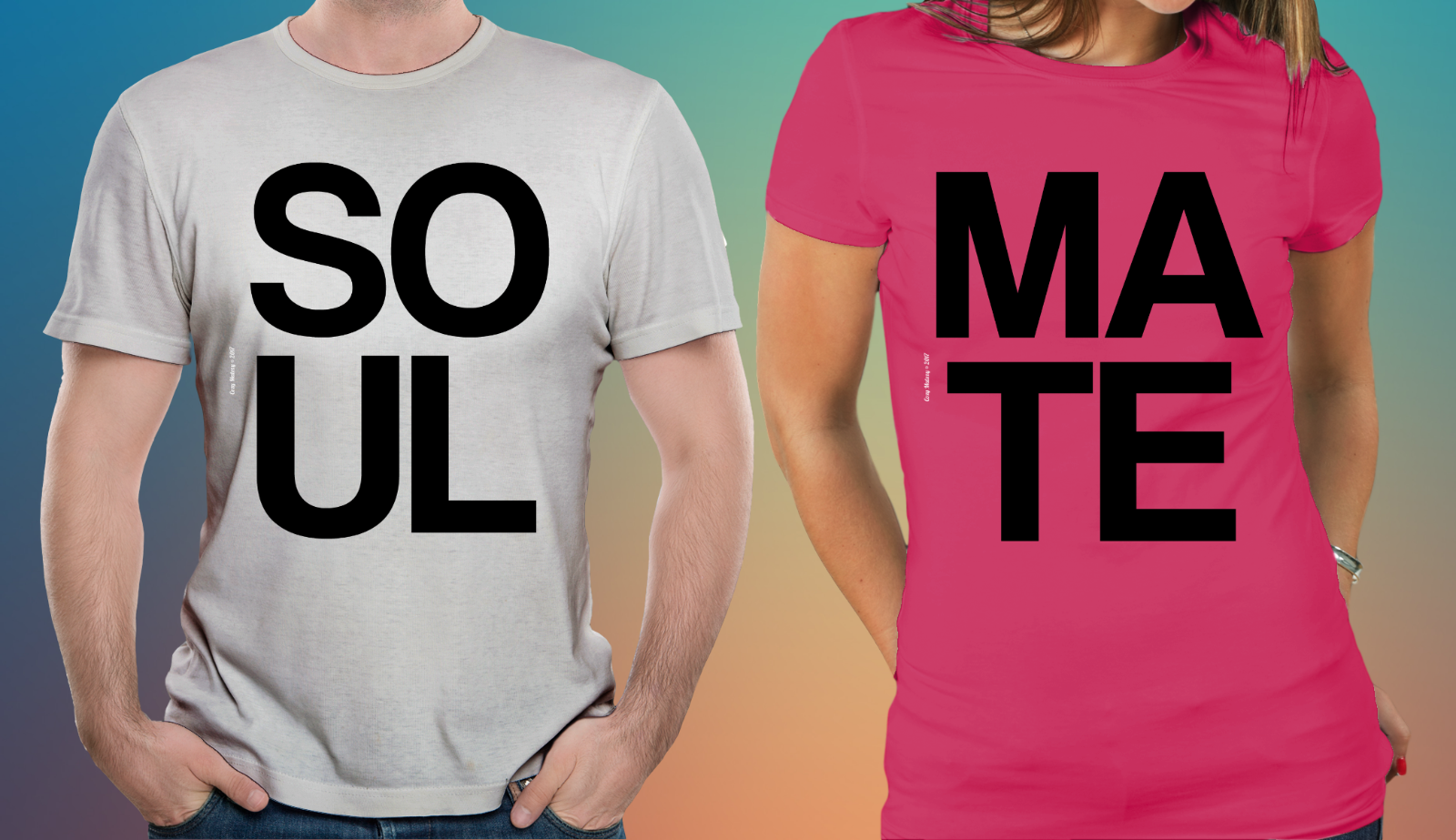 Primary image for Couple Matching T-shirt Soul Mate Set Valentine's Day SOULMATE Couple's Shirts
