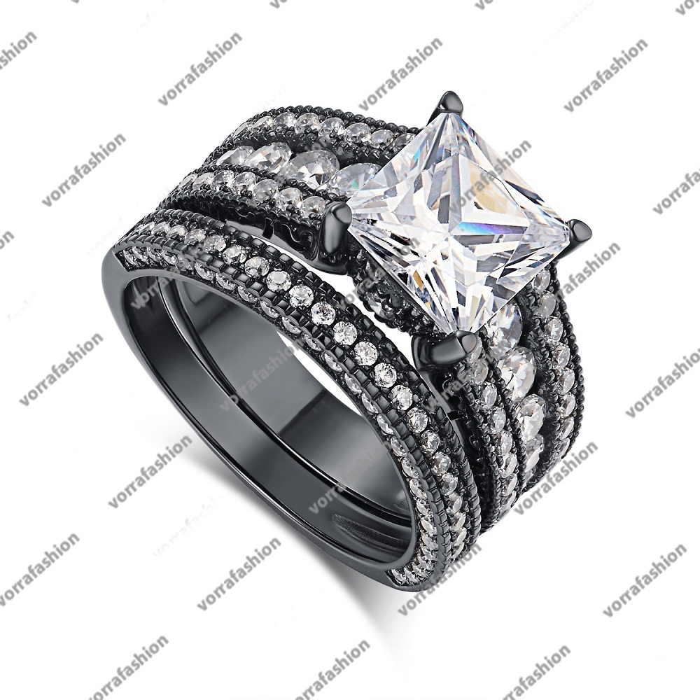 Primary image for Solid Black Rhodium Fn. 925 Silver Princess Cut White CZ Women's Bridal Ring Set