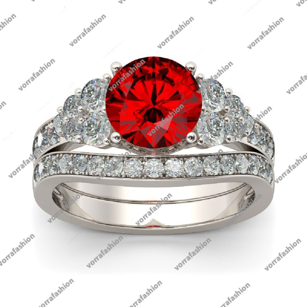Primary image for White Gold Plated 925 Silver 1Ct Round Cut Red Garnet Women's Bridal Ring Set