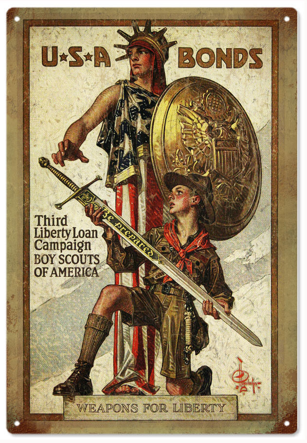 Primary image for USA Bonds Third Liberty Loan Campaign Boy Scouts Of America Sign