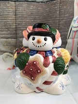 Cardinal Three Sided Snowman Ceramic Cookie Jar Collectible Gift - $21.04