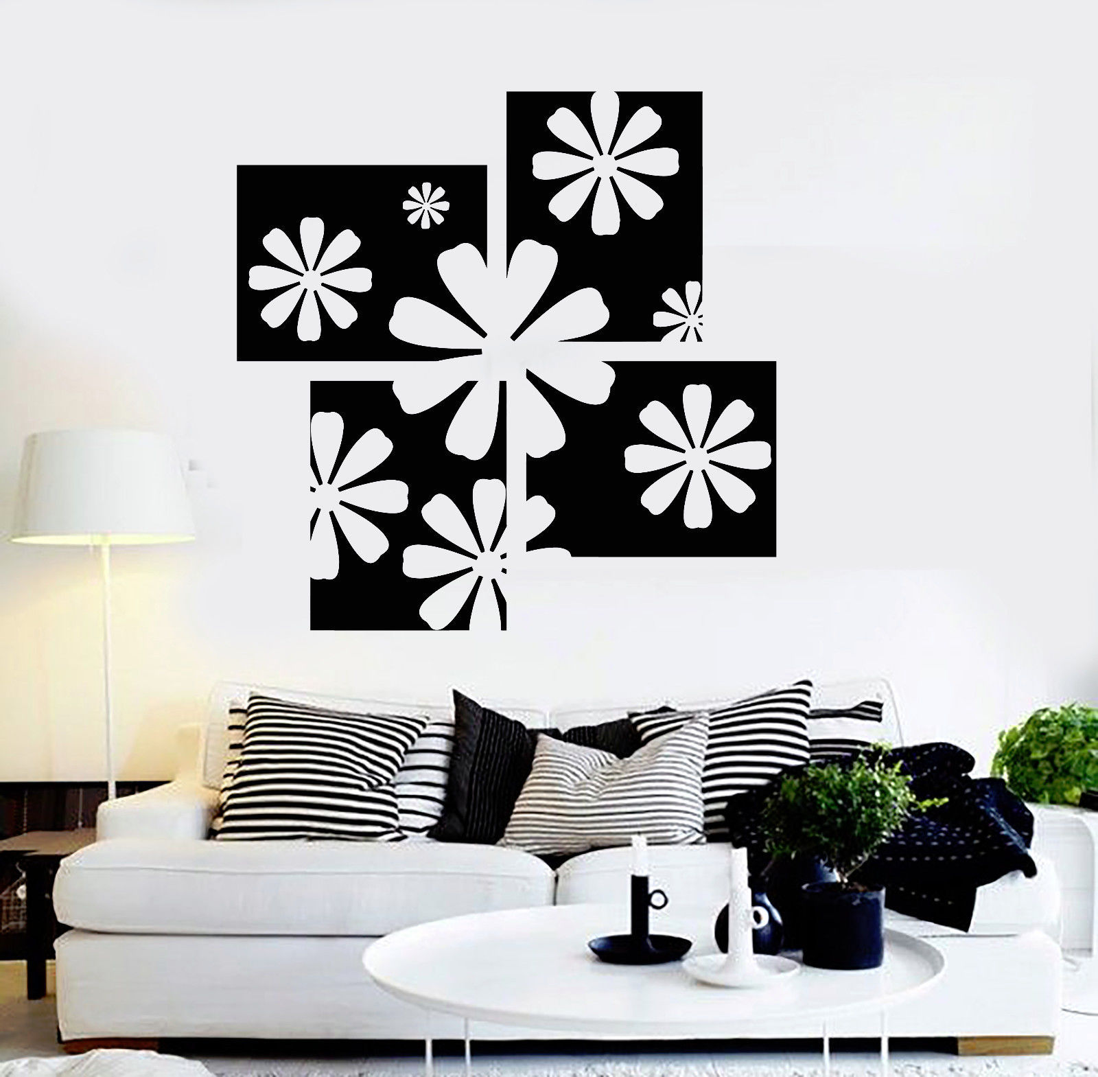 Vinyl wall decal floral art room flower house interior for Interieur stickers