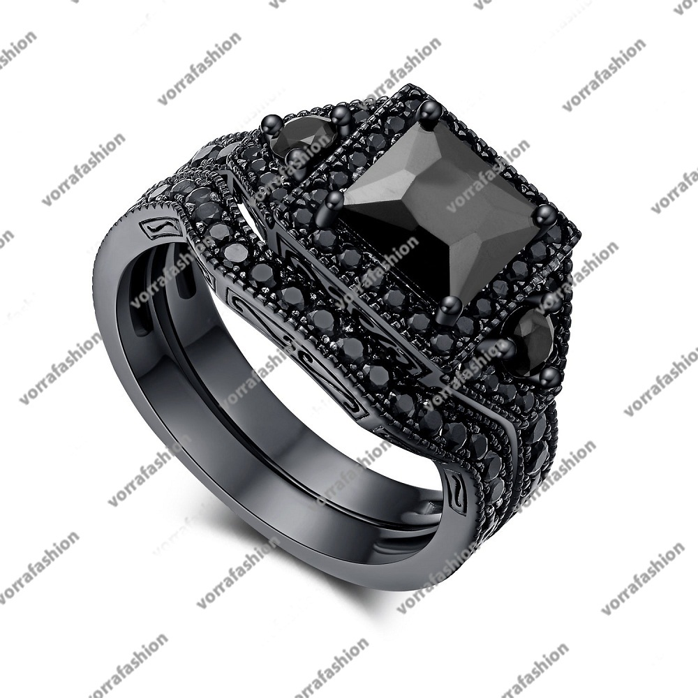 Primary image for Black Rhodium Plated 925 Silver Princess Cut Black CZ Engagement Bridal Ring Set